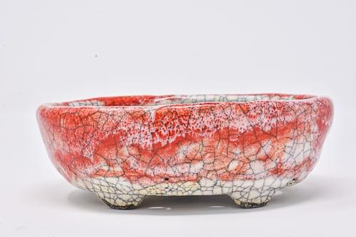 red crackle pot